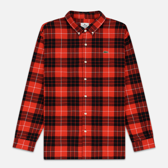 Мужская рубашка Lacoste Live Boxy Fit Check Flannel Red/White