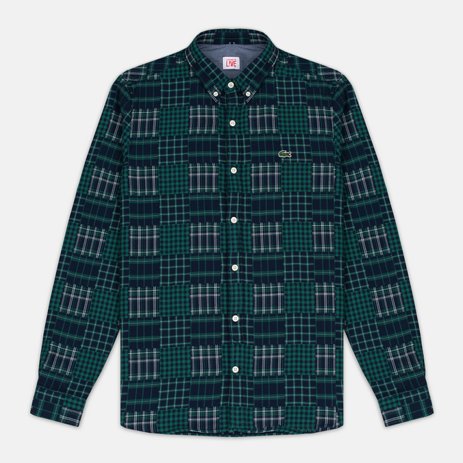 Мужская рубашка Lacoste Live Multi-Pattern Flannel Slim Fit Green/Navy