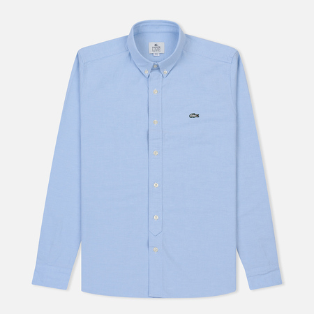 a88fbd89e9f Мужская рубашка Lacoste Live Skinny Fit Oxford Cotton Light Blue White