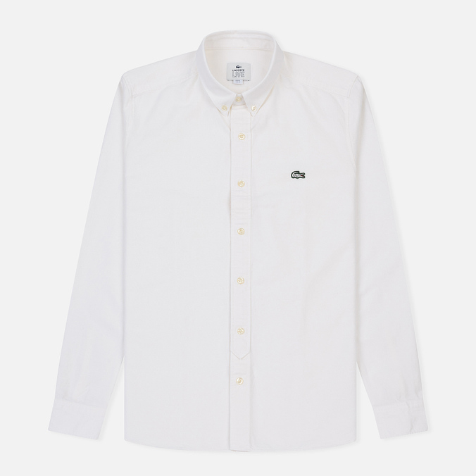 Мужская рубашка Lacoste Live Skinny Fit Oxford Cotton White/White