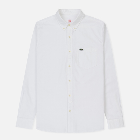 Мужская рубашка Lacoste Live Slim Fit Oxford Cotton White/White