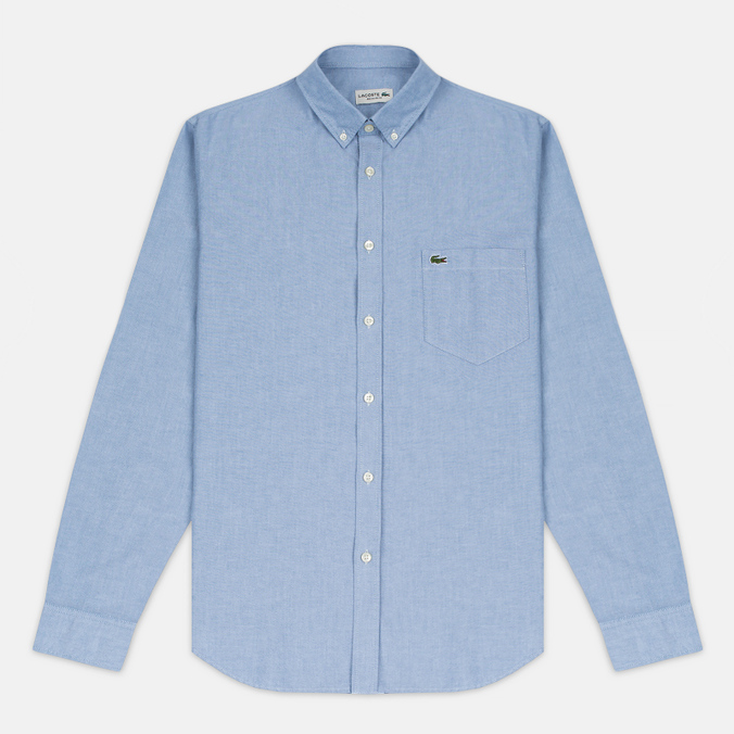 Мужская рубашка Lacoste Oxford Regular Fit Woven Blue