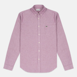 Мужская рубашка Lacoste Oxford Regular Fit Woven Wine/White фото- 0