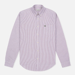 Мужская рубашка Lacoste Oxford Striped Regular Fit Wine/White фото- 0