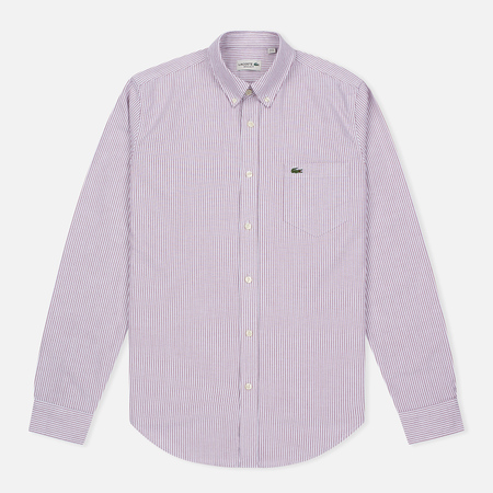 Lacoste Oxford Striped Regular Fit Men's Shirt Wine/White