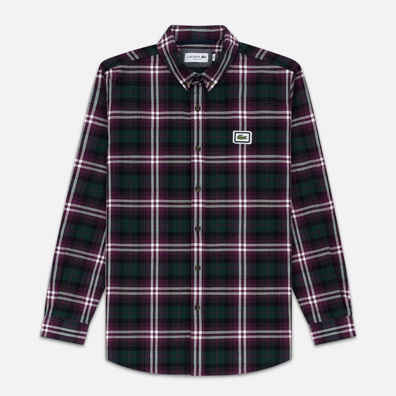 Мужская рубашка Lacoste Regular Fit Check Flannel Bordeaux/White