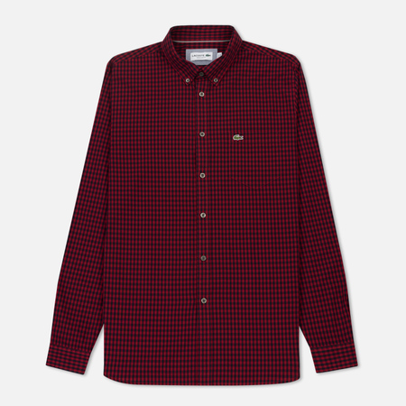 Мужская рубашка Lacoste Regular Fit Mini Check Cotton Poplin Autumnal Red/Navy Blue