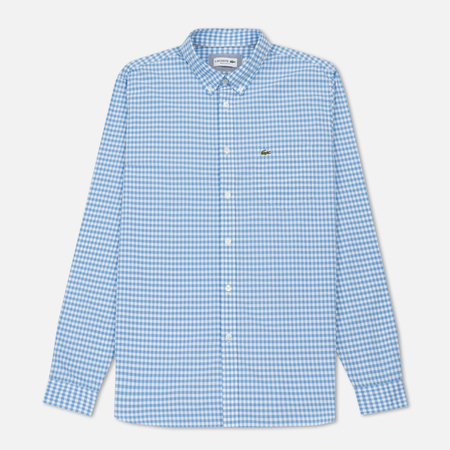 Мужская рубашка Lacoste Regular Fit Mini Check Cotton Poplin Hemisphere Blue/White