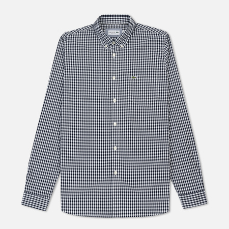 Мужская рубашка Lacoste Regular Fit Mini Check Cotton Poplin Navy Blue/White