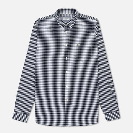 Мужская рубашка Lacoste Regular Fit Mini Check Cotton Poplin Navy Blue/White