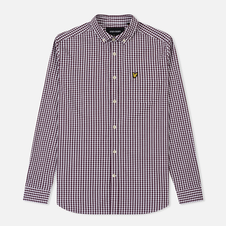 Мужская рубашка Lyle & Scott LS Slim Fit Gingham Burgundy