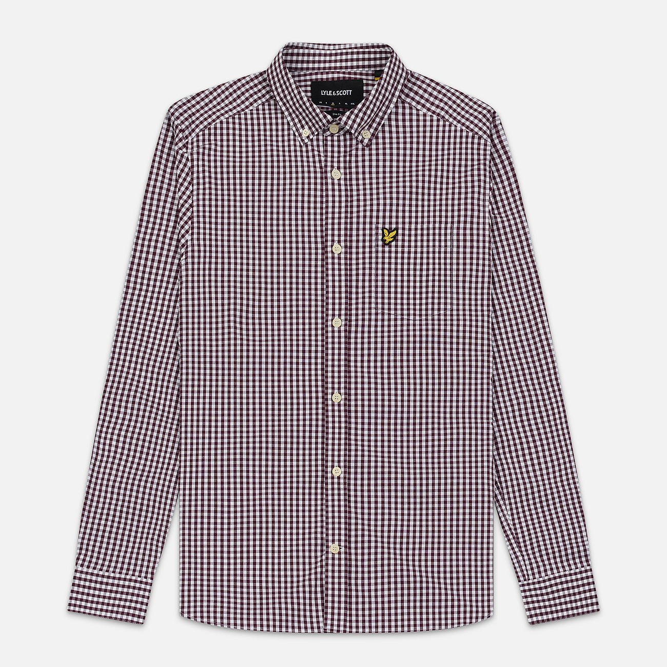 Мужская рубашка Lyle & Scott LS Slim Fit Gingham Burgundy/White