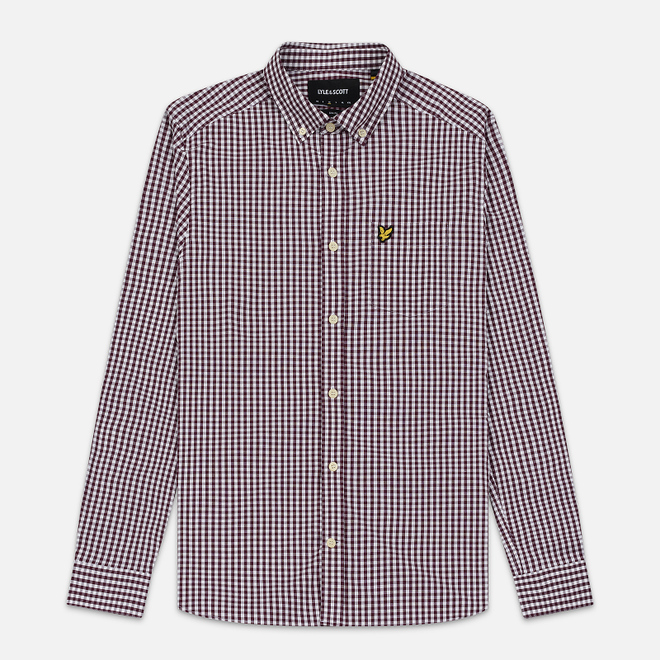Мужская рубашка Lyle & Scott LS Slim Fit Gingham Burgundy/White
