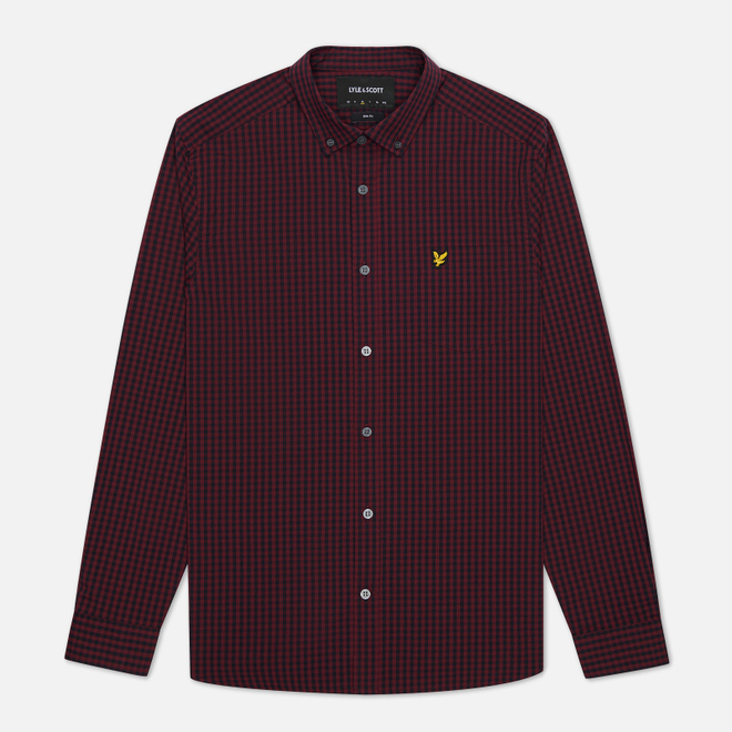 Мужская рубашка Lyle & Scott LS Slim Fit Gingham Dark Navy/Merlot
