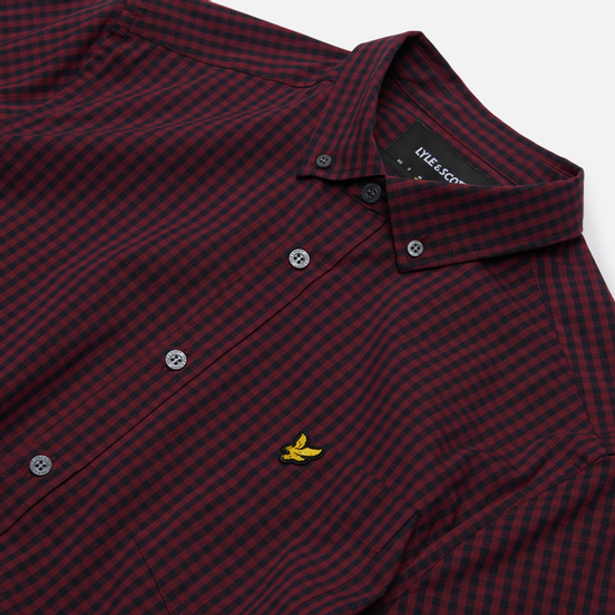Мужская рубашка Lyle & Scott LS Slim Fit Gingham Dark Navy/Merlot