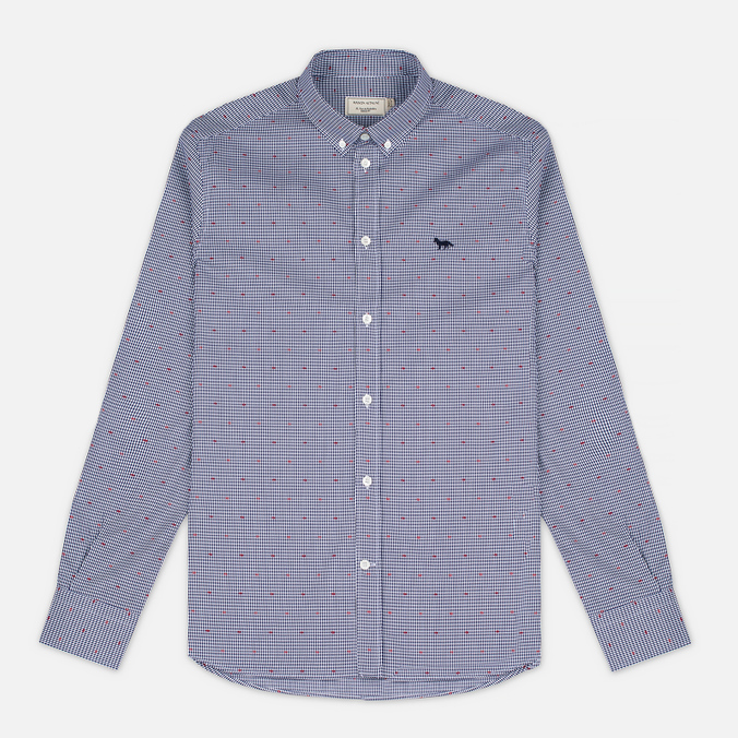 Мужская рубашка Maison Kitsune Jacquard Dots Dark Navy