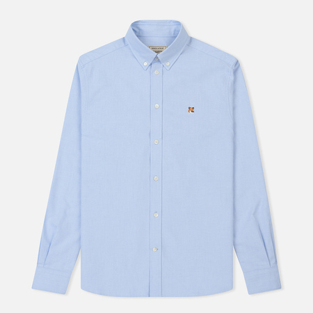 Мужская рубашка Maison Kitsune Oxford Fox Head Embroidery Classic Light Blue