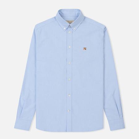 Мужская рубашка Maison Kitsune Oxford Fox Head Embroidery Classic Light Blue