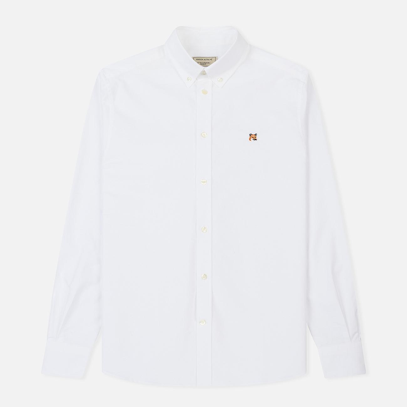 Мужская рубашка Maison Kitsune Oxford Fox Head Embroidery Classic White