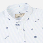 Maison Kitsune Oxford Printed Classic Men's Shirt Light Blue Stripes photo- 1