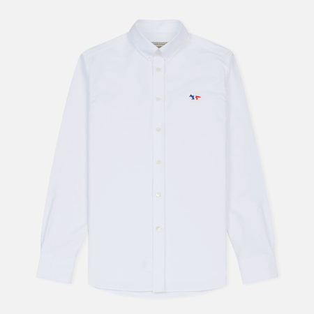 Мужская рубашка Maison Kitsune Oxford Tricolor Fox Patch Classic White