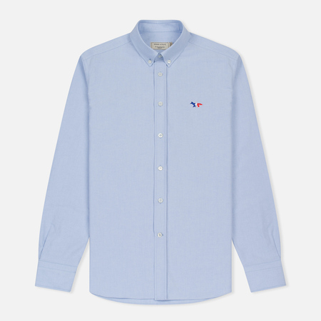 Мужская рубашка Maison Kitsune Oxford Tricolor Fox Patch Classic Light Blue