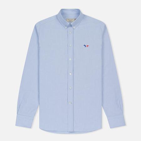 Мужская рубашка Maison Kitsune Oxford Tricolor Fox Patch Classic Light Blue