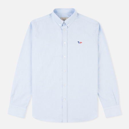 Maison Kitsune Oxford Tricolour Fox Patch Men's Shirt Light Blue