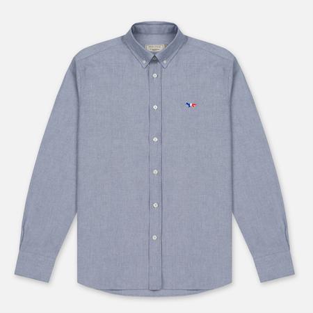 Maison Kitsune Мужская рубашка Oxford Tricolour Patch Classic Black