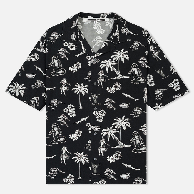 Мужская рубашка McQ Alexander McQueen Billy 03 Hawaii Print Darkest Black