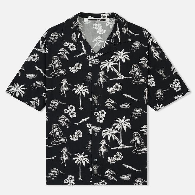 Мужская рубашка McQ Alexander McQueen Billy 03 Hawaii Print Darkest Black