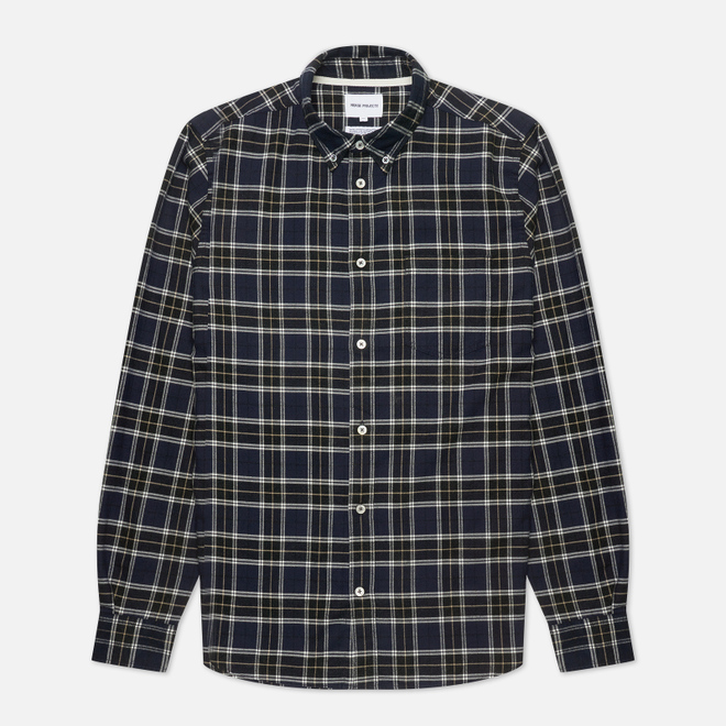 Мужская рубашка Norse Projects Anton Brushed Flannel Check Dark Navy