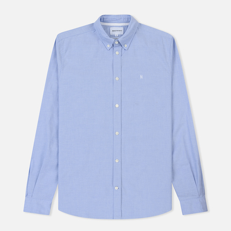 Мужская рубашка Norse Projects Anton Oxford Logo Pale Blue