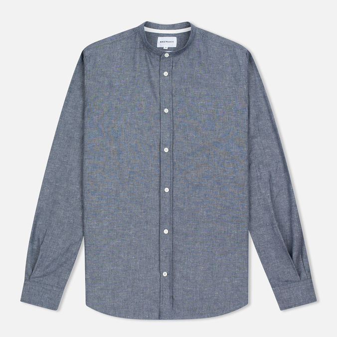 Мужская рубашка Norse Projects Benno Grandad Slub LS Indigo