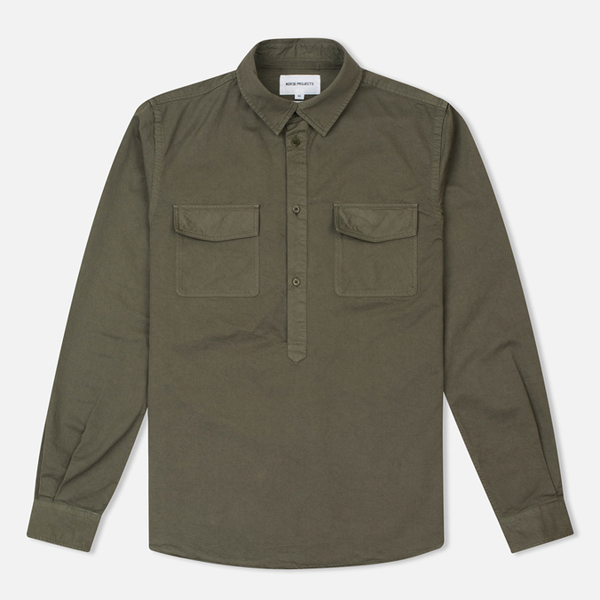 Norse Projects Hans Half Placket Twill Men's Shirt Dried Olive