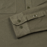 Norse Projects Hans Half Placket Twill Men's Shirt Dried Olive photo- 3