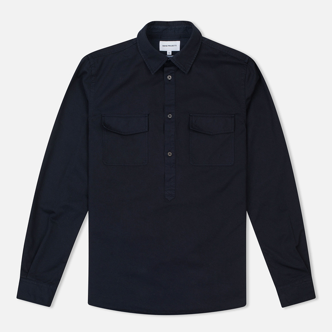 Мужская рубашка Norse Projects Hans Half Placket Twill Navy