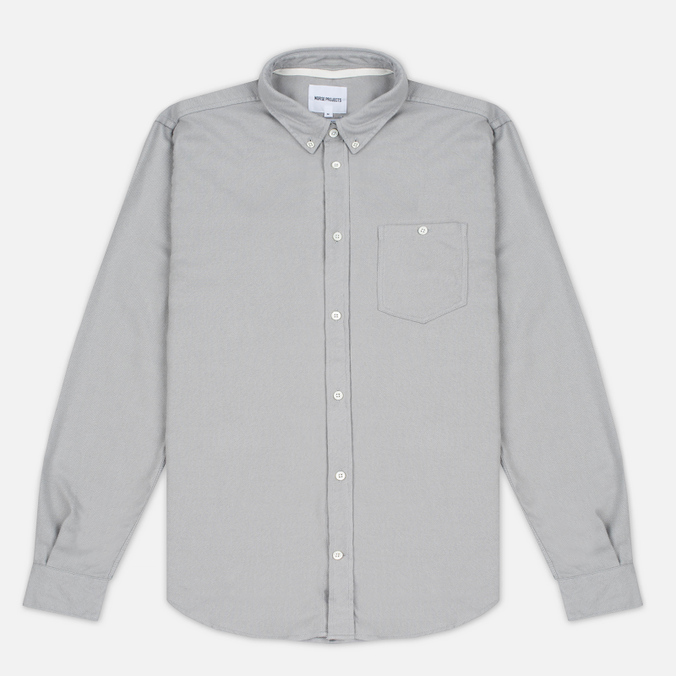Norse Projects Osvald Brushed Men's Shirt Light Grey Melange