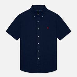 Мужская рубашка Polo Ralph Lauren Classic Fit Piece Dye Linen Newport Navy