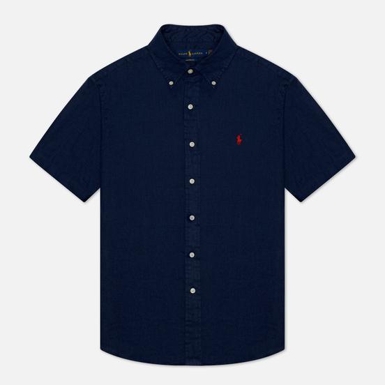 Мужская рубашка Polo Ralph Lauren Classic Fit Piece Dye Linen Newport Navy