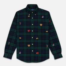 Мужская рубашка Polo Ralph Lauren Classic Fit Plaid Oxford Pine/Navy Multi фото- 0