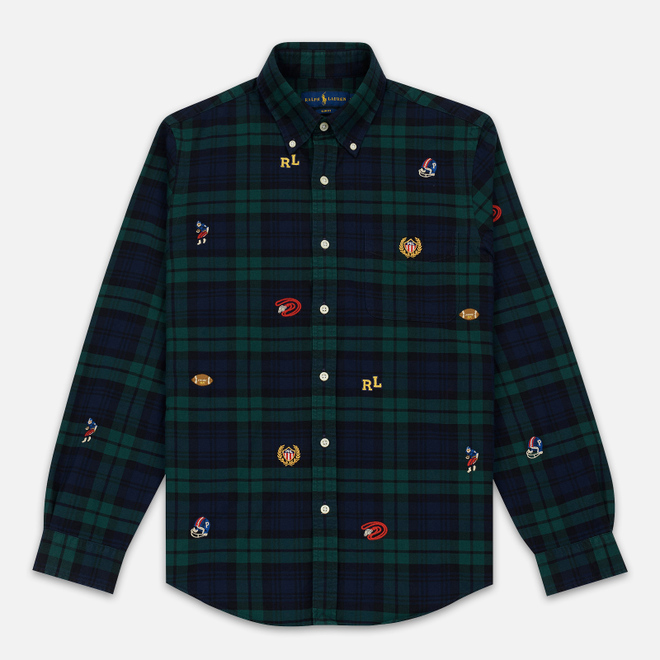Мужская рубашка Polo Ralph Lauren Classic Fit Plaid Oxford Pine/Navy Multi