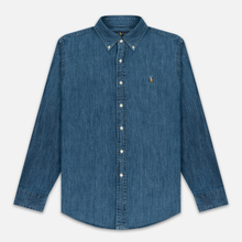 Мужская рубашка Polo Ralph Lauren Custom Fit Polo Pony Color Denim фото- 0
