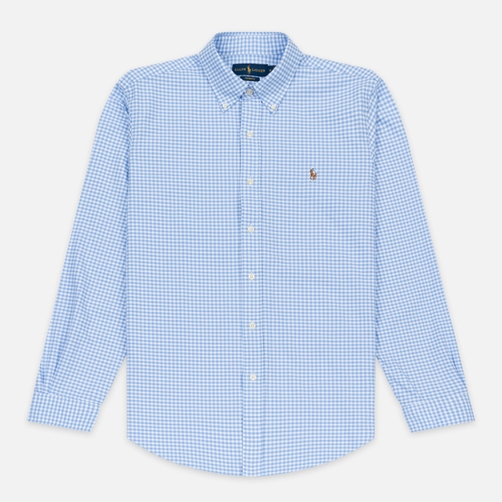 Мужская рубашка Polo Ralph Lauren Custom Fit Polo Pony Color Mini Logo Oxford Light Blue/White