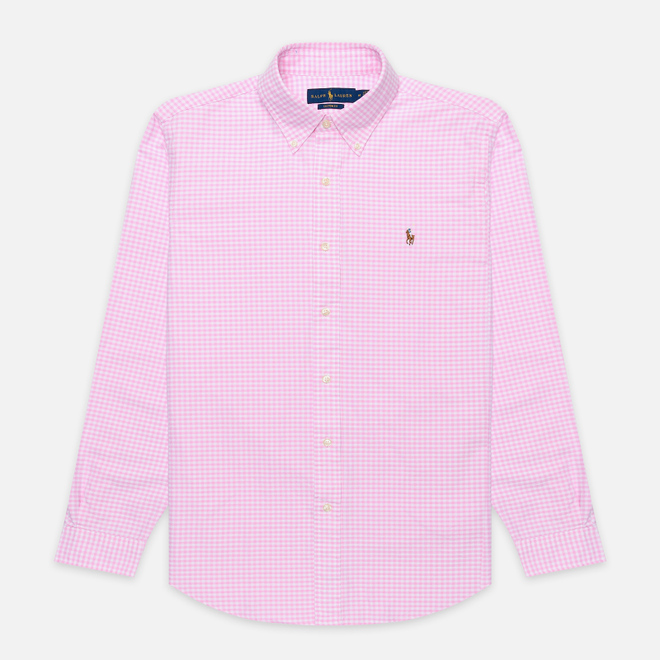 Мужская рубашка Polo Ralph Lauren Custom Fit Polo Pony Color Mini Logo Oxford Pink/White
