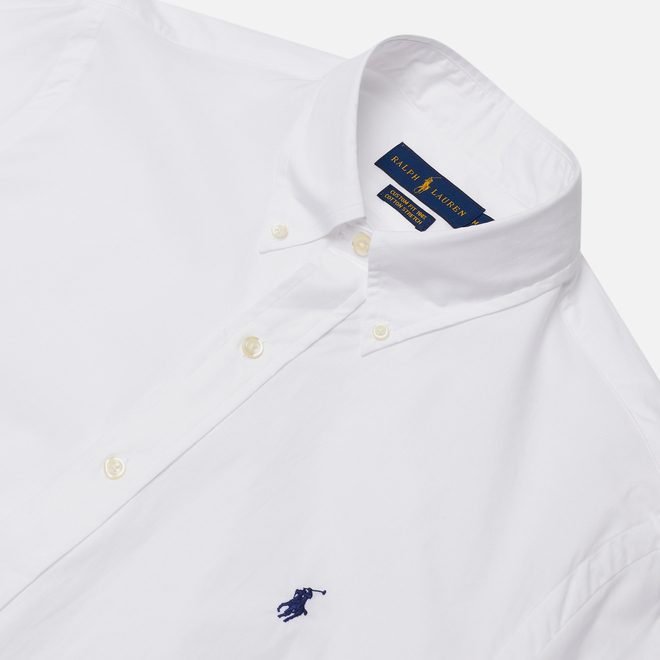Мужская рубашка Polo Ralph Lauren Custom Fit Polo Pony Color Natural Stretch Poplin White