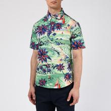 Мужская рубашка Polo Ralph Lauren Custom Fit SS Polo Pony Color Printed Oxford Hawaiian Beach Bazaar фото- 2