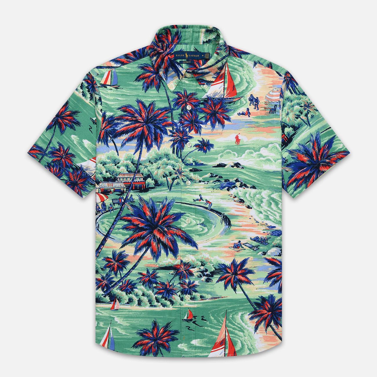 Мужская рубашка Polo Ralph Lauren Custom Fit SS Polo Pony Color Printed Oxford Hawaiian Beach Bazaar