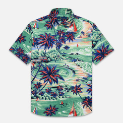 Мужская рубашка Polo Ralph Lauren Custom Fit SS Polo Pony Color Printed Oxford Hawaiian Beach Bazaar