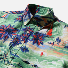 Мужская рубашка Polo Ralph Lauren Custom Fit SS Polo Pony Color Printed Oxford Hawaiian Beach Bazaar фото- 1